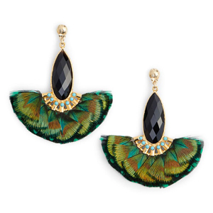 Feather statement earrings with green, blue, black tones with gold detailing photo