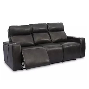 Leather adjustable sofa with cup holders photo