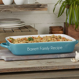 Blue casserole dish with text photo