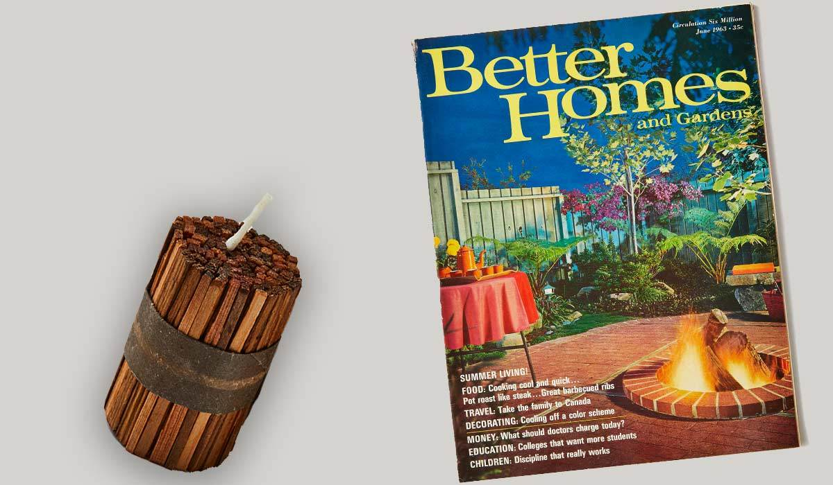 Fire starter next to a vintage Better Homes & Gardens magazine photo