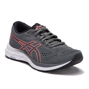 Gray and pink Asics running shoes photo
