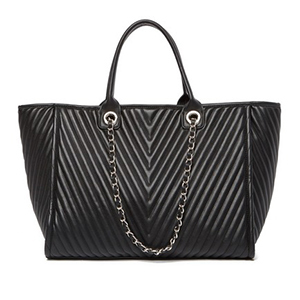 Black quilted Steve Madden bag with chain hanging from handles photo