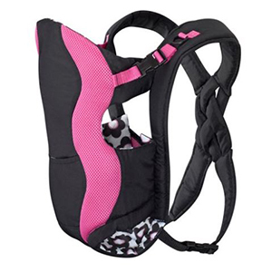 Pink and black baby carrier with floral interior photo