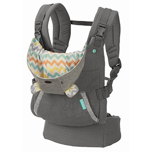 Gray baby carrier with a teddy bear hoodie photo