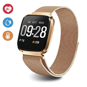 Gold fitness tracker with a large watch face photo