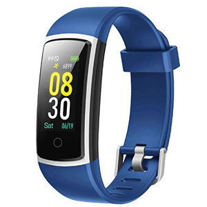 Blue and silver fitness tracker by Yamay on Amazon photo