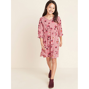Old Navy Patterned Waist-Defined Dress for Girls photo