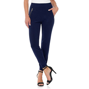 blue travel joggers with gold zippers photo