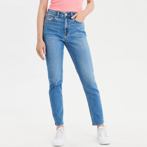 Mom jeans made from stretchy material photo