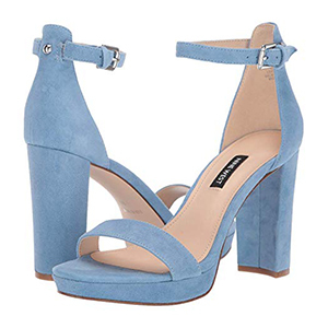 Blue suede block heels with ankle strap photo