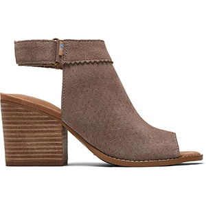 Taupe open-toe booties with perforated leather upper photo