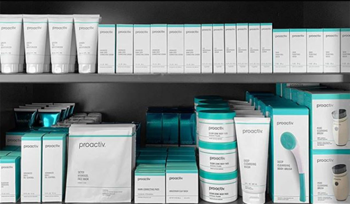 Two shelves full of Proactiv products photo