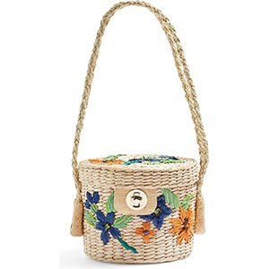 A floral bucket bag made with straw photo