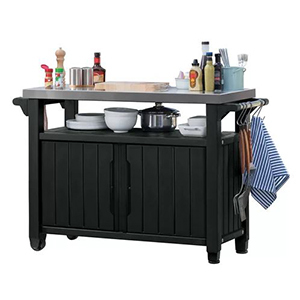 Black bar cart with tableware and condiments photo
