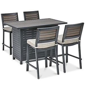 Bar set with four chairs and four chair cushions photo
