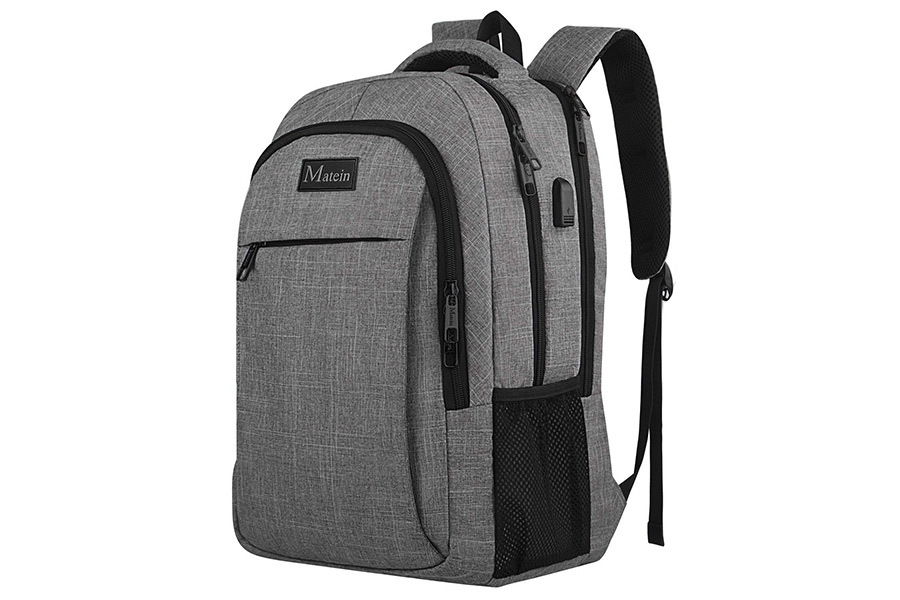 Gray and black Matein travel backpack photo