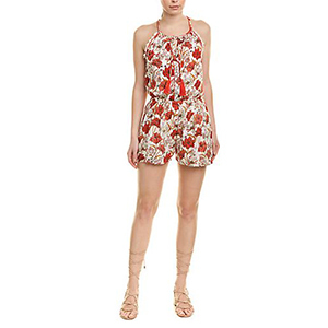 Woman wearing a red and white floral romper photo