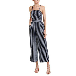 White and navy striped jumpsuit with noodle straps photo