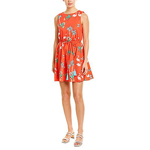 Thigh-length orange dress with flamingo and palm tree print photo