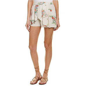 Ivory skort with a floral pattern photo