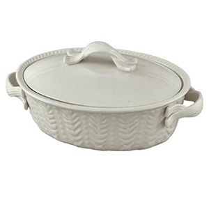 White oval baking dish with handles from The Home Depot photo