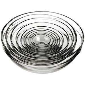 10 Piece set of clear mixing bowls stacked inside one another from The Home Depot photo
