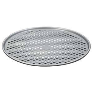 Silver pizza pan with holes to evenly cook the pizza from The Home Depot photo