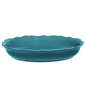 Blue round stoneware baker from The Home Depot photo