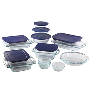19-Piece glass bakeware and storage set with blue lids from The Home Depot photo