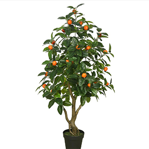 Indoor faux orange tree with black pot from The Home Depot photo