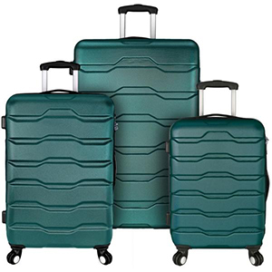3-Piece teal hardside spinner luggage set from The Home Depot photo