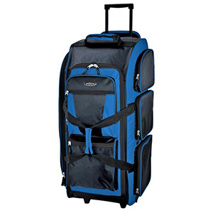 Blue and black rolling duffle bag with handle from The Home Depot photo