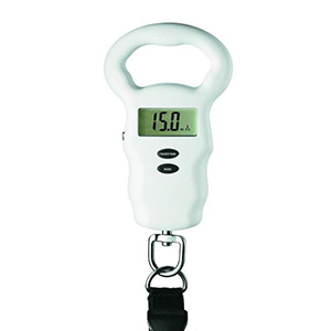 White luggage scale showing the weight digitally from The Home Depot photo
