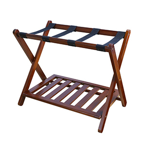 Walnut wood luggage rack with a bottom shelf from The Home Depot photo