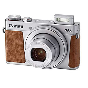 Silver Canon camera with brown accents photo