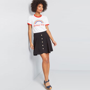 Black button-up skater skirt from Modcloth photo