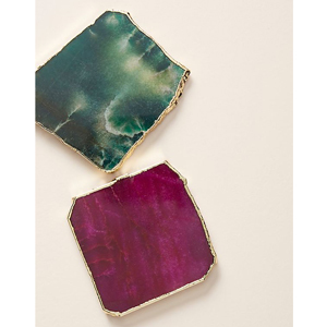 Turquoise and magenta coasters with gold edge detailing. photo