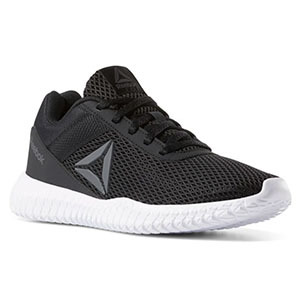 Black tennis shoes with a white sole photo
