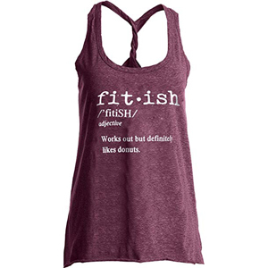 Burgundy twisted racerback tank that says,