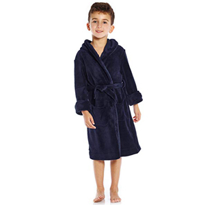 Young boy wearing a navy blue hooded fleece robe from Amazon photo