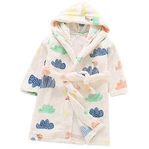 White hooded toddler's robe with colorful cloud print from Amazon photo
