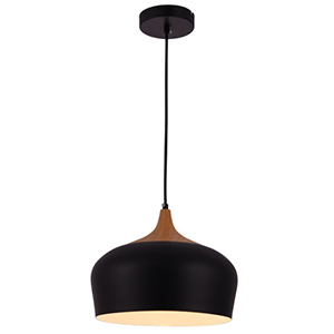Black pendant light with brown wood accent photo