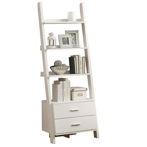 White bookcase ladder with items shelved photo