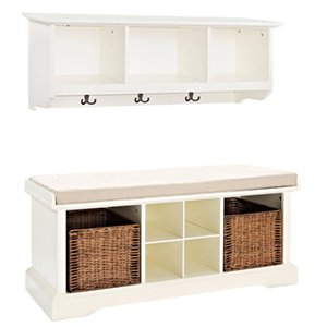 White entryway and bench set with brown woven baskets photo