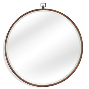 Round wall mirror with thin metal frame photo