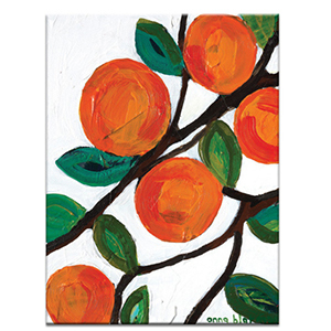 Canvas print painting of oranges in a tree photo
