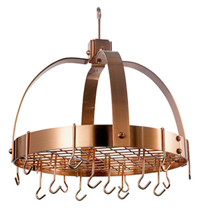 Copper pot rack with hooks photo