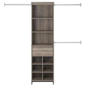 Gray wood closet organizer with shelves, cubbies, and racks photo