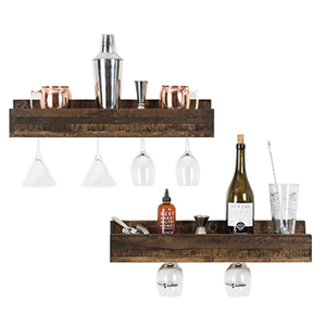 Two dark wood shelves with shakers, bottles, tools, and wine glasses hanging photo