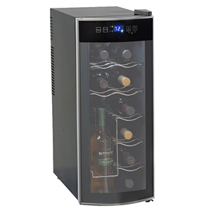 Tall, thin black wine cooler filled with bottles photo